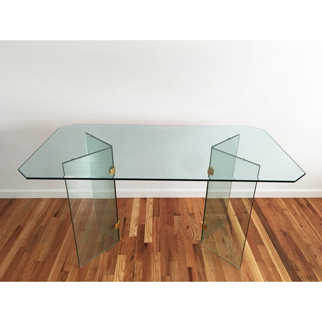 Beveled Glass Dining Table - Image 2 of 8