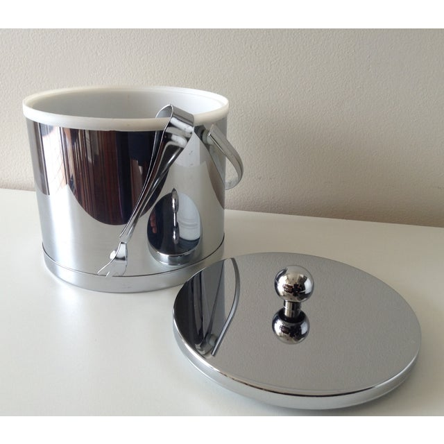 Image of Vintage Chrome Ice Bucket With Tongs