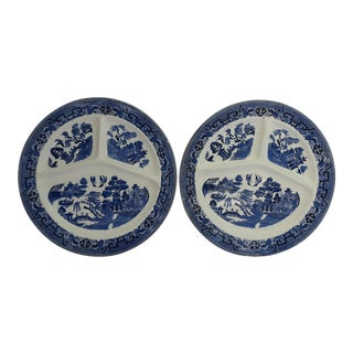 Blue Willow Grill Plates - A Pair