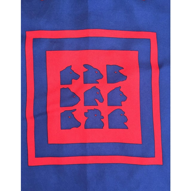 Image of Vintage Italian Blue Silk Fabric Square
