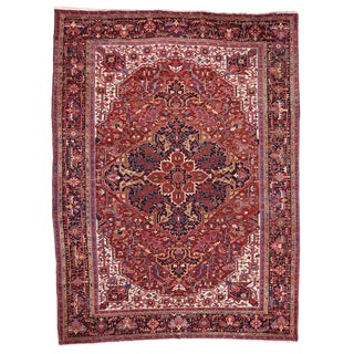 Oversize Antique Persian Heriz Rug with Modern Style, 12' x 16'