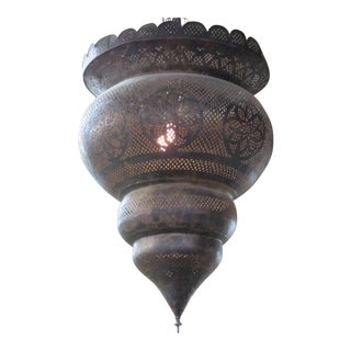Large Antique Moroccan Oxidized Brass Pendant Chandelier
