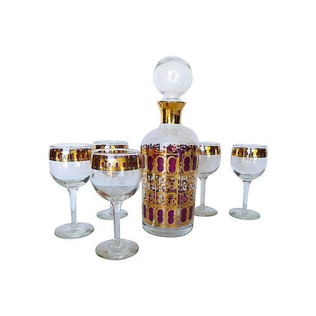 Mid Century 6-Piece Bar Set with Carafe - Image 7 of 7
