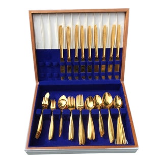 Custom Design Gold Flatware Set - 96 Pieces
