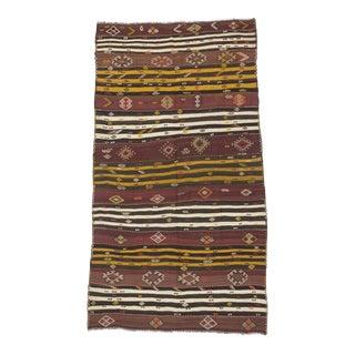 Vintage Turkish Striped Kilim Rug - 6′ × 10′10″