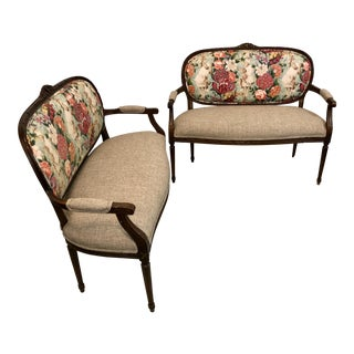 Pair of Chinoiserie Chintz Settees