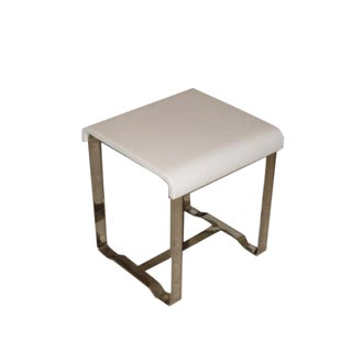 White Leather Stools - A Pair