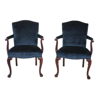 Mahogany Blue Open Armchairs - A Pair