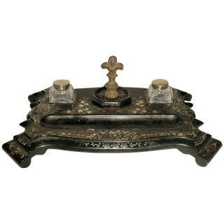 19th Century Inlaid French Papier Mache Inkwell
