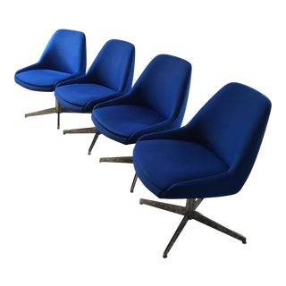 Mid-Century Blue Upholstered Chairs - Set of 4