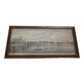 1890s Vintage Thames River Lithograph