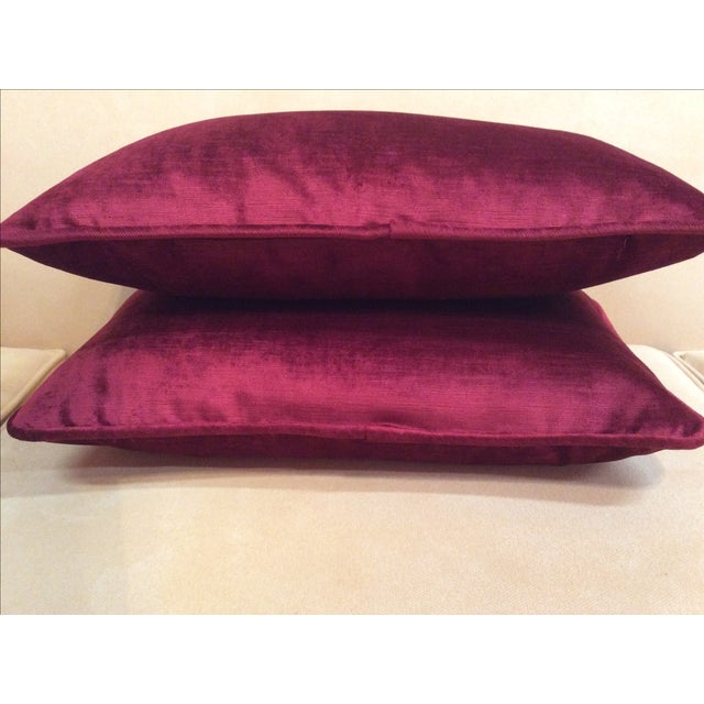 Burgundy Velvet Pillows - A Pair - Image 6 of 9
