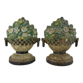 American Painted Cast Iron Doorstops, Floral Jardinieres - a Pair