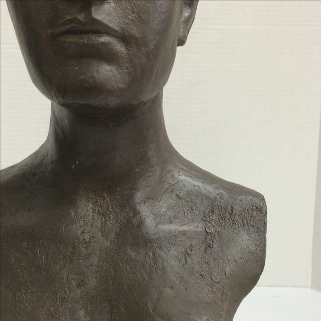 Modernist Male Bust Bronze Sculpture - Image 3 of 11