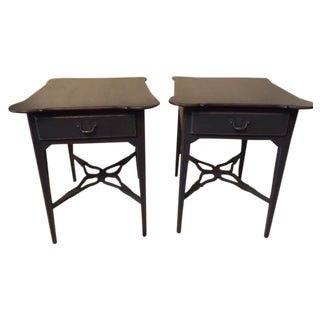 Distressed French-Style Gray End Tables - a Pair