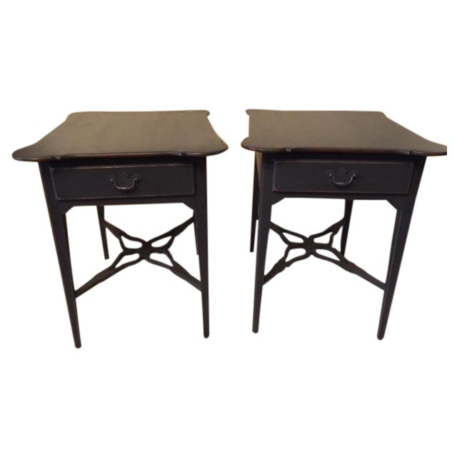 French Country Distressed Coffee Table: Distressed French-Style Gray End Tables - A Pair