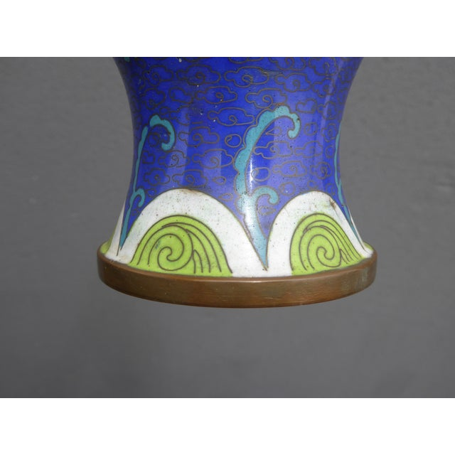 Vintage Chinese Cloisonne Brass Painted Blue Dragon Vases - A Pair - Image 11 of 11