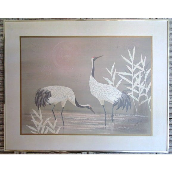"""Image of Pastel """"2 Cranes"""" Painting"""