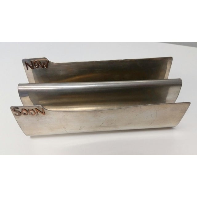 Vintage Silver Copper Soon & Now Letter Holder - Image 5 of 6
