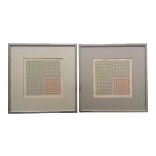 70's Geometric Abstract Silkscreens - A Pair