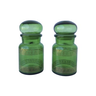 Green With 22k Gold Apothecary Bottles - A Pair