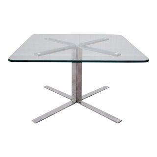 Mid-Century Modern Chrome Glass X-Base Coffee Table