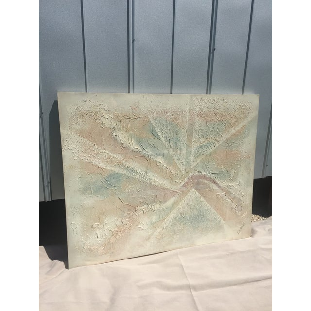 Image of Extra Large- Lee Reynolds Sunrise Mid Century Modern Pastel Abstract Canvas Painting Signed