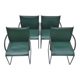Vintage Richard Schultz for Knoll Dark Green Leather Chairs - Set of 4