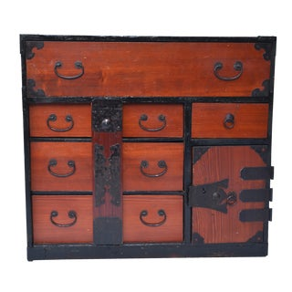 Antique Japanese Lacquered Small Tansu Chest