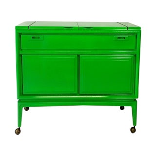 Green Lacquered Mid-Century Modern Bar