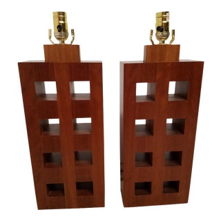 Architectural Wood Table Lamps - A Pair
