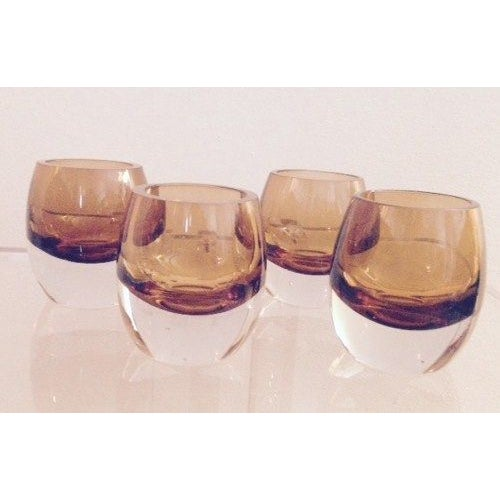 Image of Blown Glass Amber Cognac Glasses