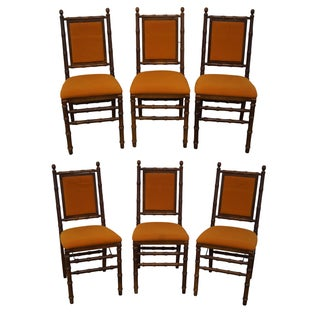 Vintage Faux Bamboo Folding Dining Chairs - 6