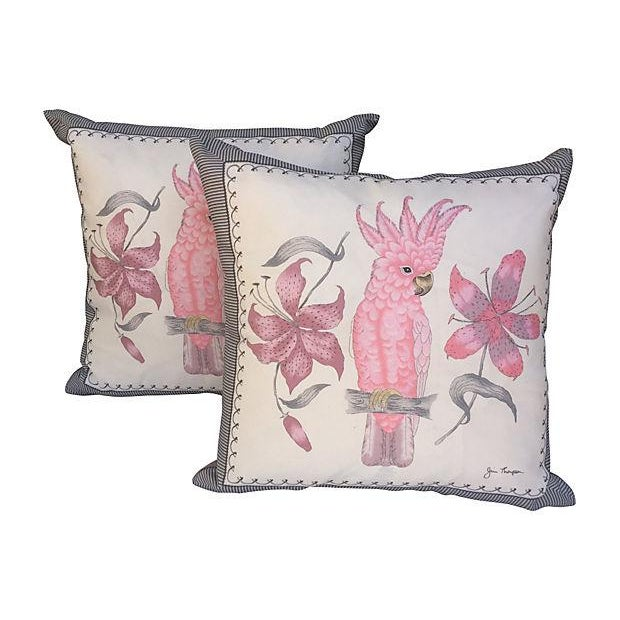 Pink Cockatoo Silk Scarf Pillows- A Pair - Image 3 of 5