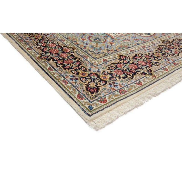 Shop Classical Kashan Medallion Hand Knotted Persian Wool: Kerman, Hand Knotted Persian Floral Medallion Wool Area