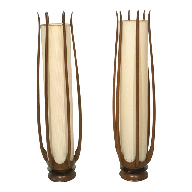 Mid-Century Modeline Walnut Tall Floor Lamps - Image 1 of 7