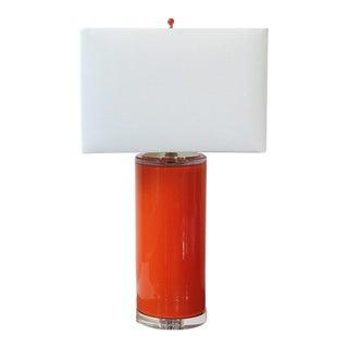Tangerine Orange Blown Glass Cylinder Lamp by C. Damien Fox Studios