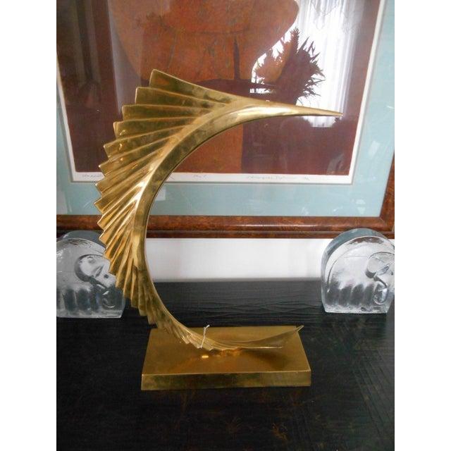 Mid-Century Modern Abstract Sailfish Brass Sculpture - Image 2 of 5