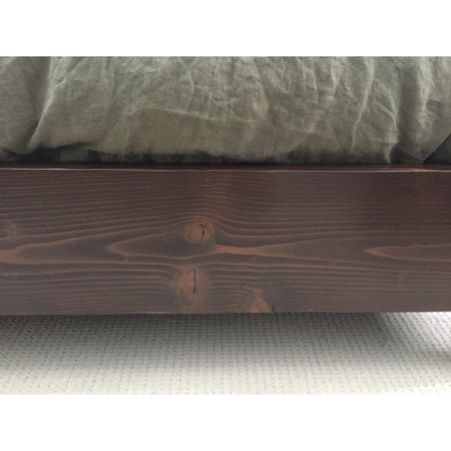 Solid Dark Wood & Ivory Upholstered King Bedframe - Image 6 of 8