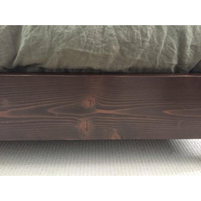 Image of Solid Dark Wood & Ivory Upholstered King Bedframe