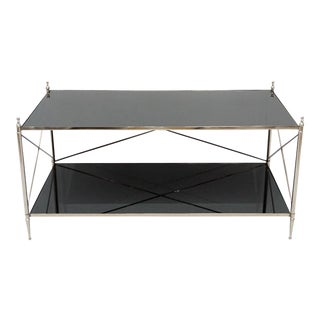 Cross Bar Center Coffee Table With Glass Top