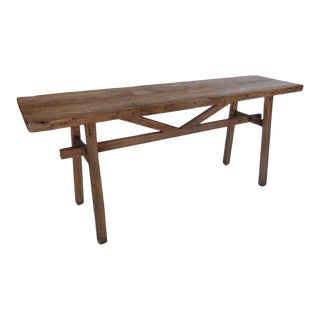 Reclaimed Wood Console with High Stretcher