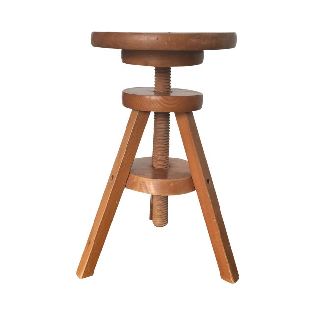 Wooden 3-Legged Side Table - Image 1 of 5