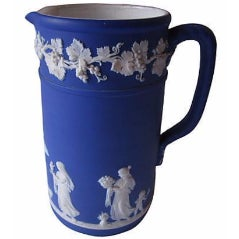 Antique Wedgwood Blue Jasper Dip Glaze Jug - Image 1 of 5
