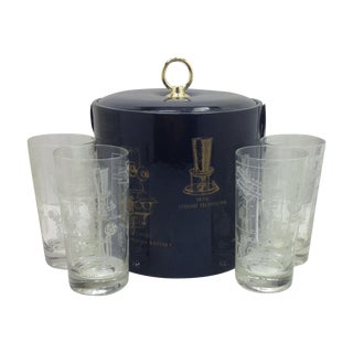 Telephone Ice Bucket with 4 Matching Glasses