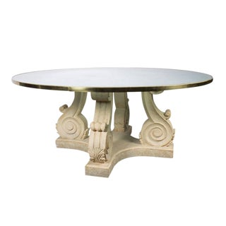 Steven Chase Round Crackled Glass Top Table W/ Carved Stone Base