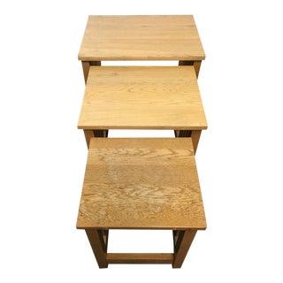 Mission Style Carved Oak Nesting Tables - Set of 3
