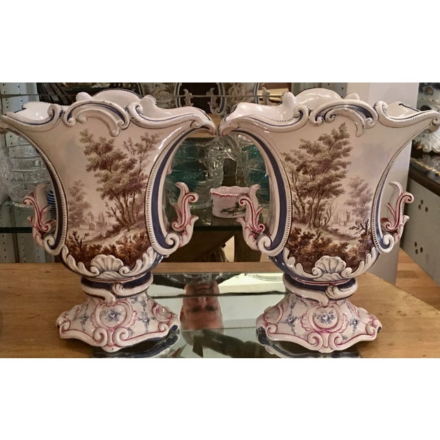 Antique Italian Faience Potter Vases w Angels - a Pair - Image 4 of 5