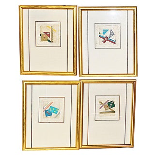 Paper Collage Art Pieces - Set of 4