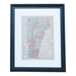 Hand Colored Antique Map of Vermont